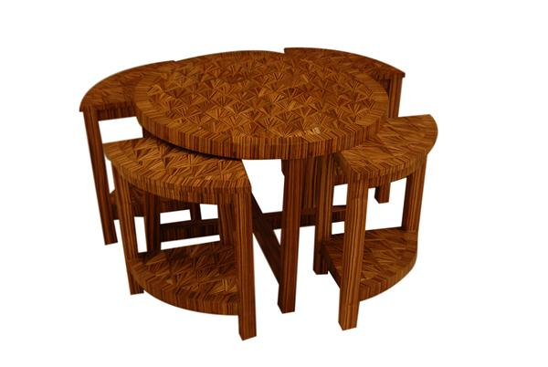 art deco center table / mother table, with 4 chairs hidden inside