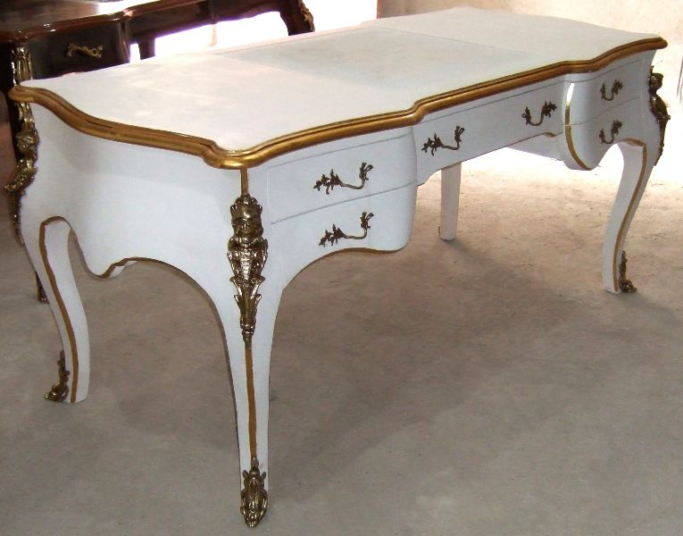 louis xv style large desk with five drawers and cabriole legs highly finished painted in white. Black Bedroom Furniture Sets. Home Design Ideas