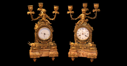 antique clock set with candelabra