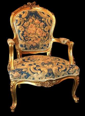 French style carved and gilded arm chair with Aubusson style fabric