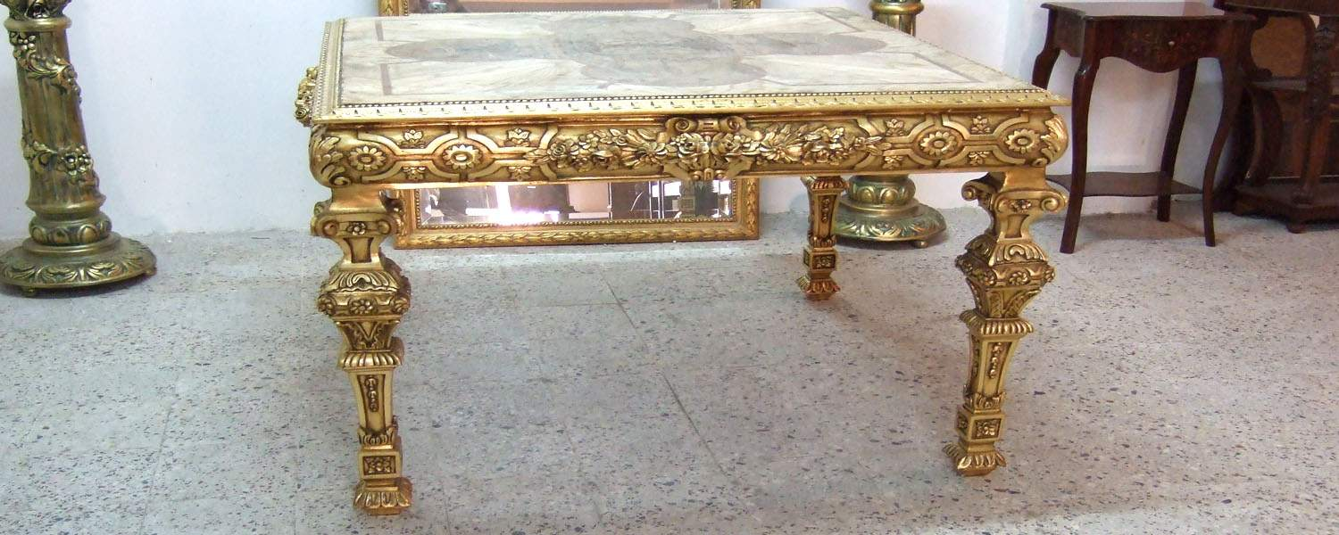 French style carved and gilded center table ... - Azhary Antiques High Quality Antique Furniture Reproductions