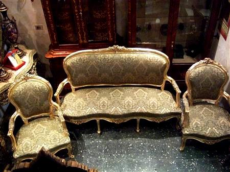 French style Louis XV salon set of a sofa and two arm chairs ...